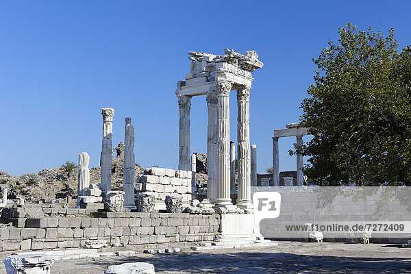 Columns and ruins of the Temple of Trajan  Trajaneum  Pergamon  Pergamum  Bergama  Izmir  western Turkey  Turkey  Asia