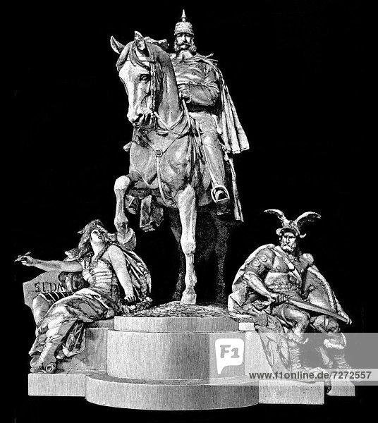 Historische Zeichnung  das Reiterstandbild von Kaiser Wilhelm I. im Kyffhäuserdenkmal oder Barbarossadenkmal oder Kaiser-Wilhelm-Denkmal im Kyffhäuserkreis  Thüringen  Deutschland  Europa