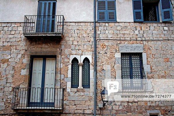 Fenster Balkon Katalonien Girona Spanien