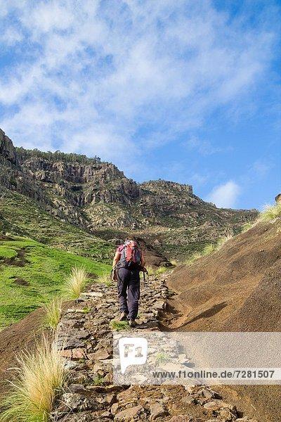 hoch  oben  nahe  Landschaft  gehen  Dorf  wandern  Kanaren  Kanarische Inseln  Großmutter  Agaete  Spanien