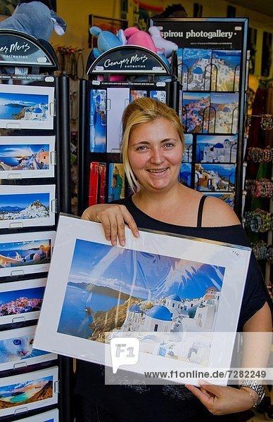 Portrait  Frau  verkaufen  Insel  Laden  Souvenir  Griechenland  Santorin  Fira  griechisch