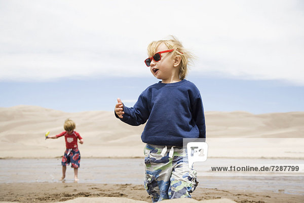 Toddler boys (2-3  4-5) playing in water and sand dunes