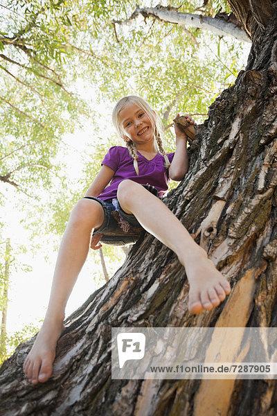 sitzend  Baum  klein  schießen  5-6 Jahre  5 bis 6 Jahre  Mädchen  Winkel  breit