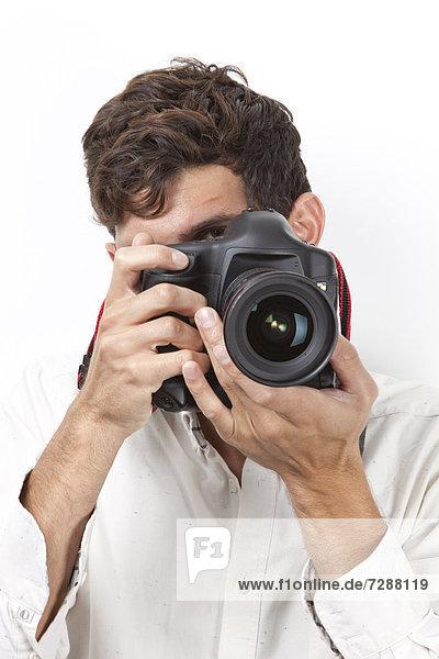 Mann  Fotografie  nehmen  weiß  Retro  Hintergrund  jung