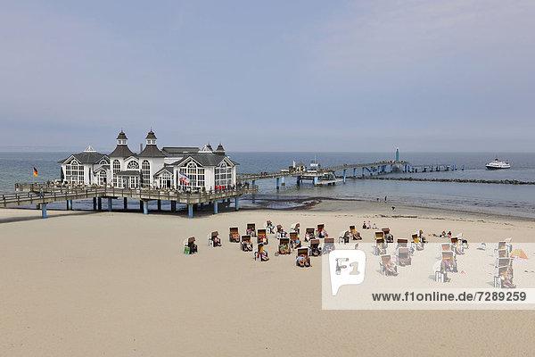 Beach and pier of Sellin  Ruegen Island  Mecklenburg-Western Pomerania  Germany  Europe