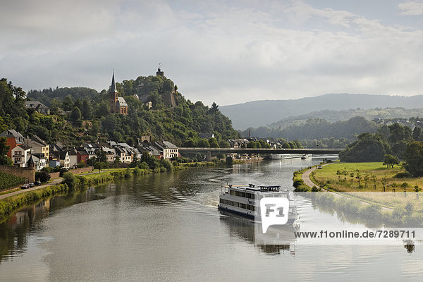Passenger ship on the Saar river near Saarburg  Rhineland-Palatinate  Germany  Europe