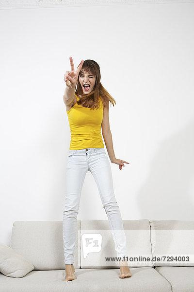 Young woman having fun  smiling