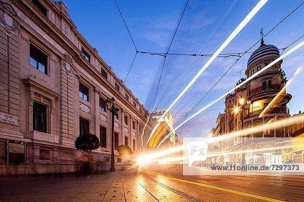 folgen  Beleuchtung  Licht  Recht  Straßenbahn  Allee  Sevilla  Spanien