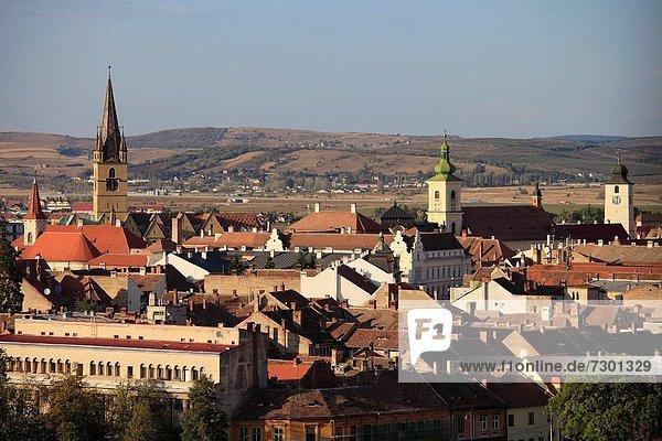 Romania  Sibiu  skyline  aerial view  panorama
