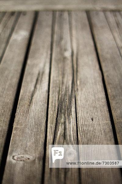Detailaufnahme von Holzbohlen