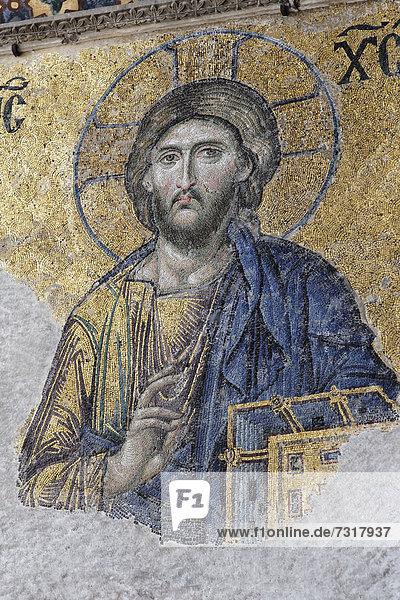 Christ Pantocrator  image of Jesus Christ  Deesis mosaic in the southern gallery  Hagia Sophia  Ayasofya  interior view  UNESCO World Heritage Site  Istanbul  Turkey  Europe