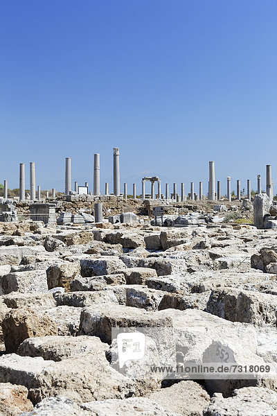 Ruins and the avenue of columns in the Agora  marketplace in the excavation site in the ancient city of Perge  Aksu  Turkish Riviera  Antalya  Turkey  Asia