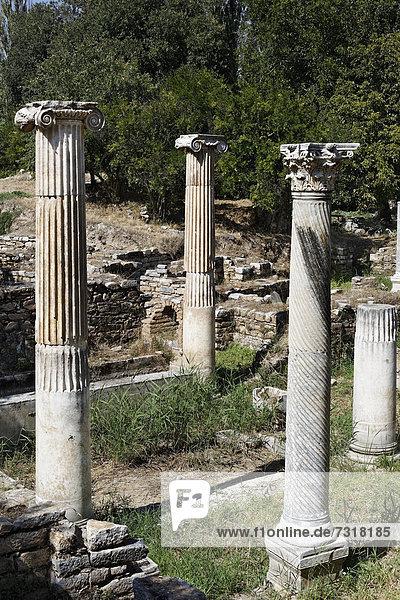 Remnants and pillars at the ruins of Aphrodisias  Geyre Karacasu  Aydin  Western Turkey  Turkey  Asia