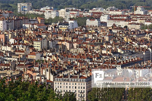 Frankreich Europa Hügel Ansicht Lyon