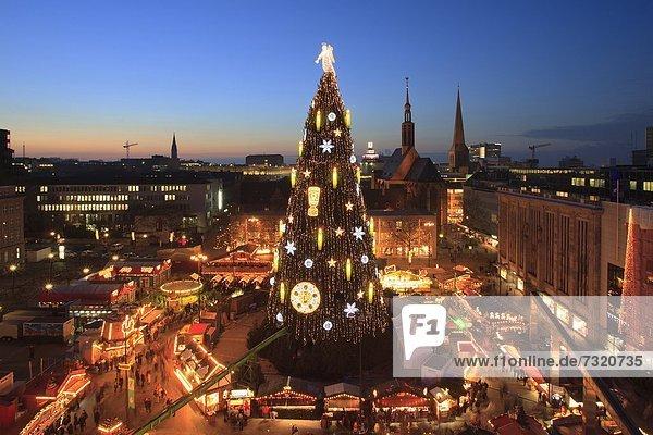 Weihnachtsbaum auf dem Weihnachtsmarkt  Dortmund  Nordrhein-Westfalen  Deutschland  Europa Weihnachtsbaum auf dem Weihnachtsmarkt, Dortmund, Nordrhein-Westfalen, Deutschland, Europa