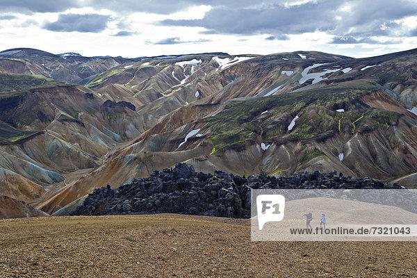 Hikers trekking  Landmannalaugar  Iceland  Europe