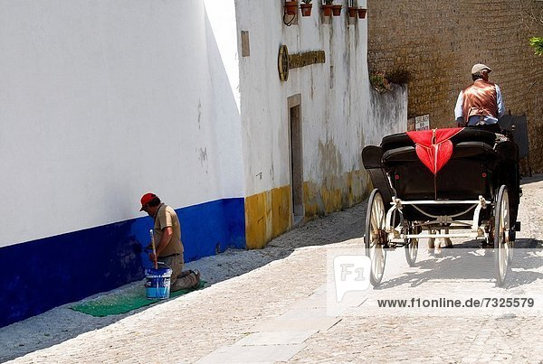 Farbaufnahme Farbe Mann Wand Tradition Wohnhaus gelb Symbol weiß Erneuerung blau bemalen Transport Zeichnung UNESCO-Welterbe Erbe Portugal portugiesisch