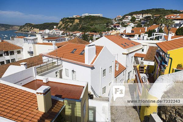 Rua da Boa Vista from Elevador Panoramico de Sao Martinho do Porto  Panoramic Elevator  Sao Martinho do Porto  Alcobaca  Oeste  Leiria District  Portugal  Europe