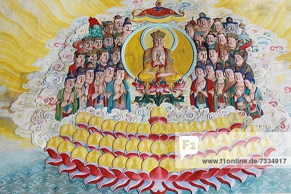 Wand  Dekoration  streichen  streicht  streichend  anstreichen  anstreichend  Gebet  fünfstöckig  Buddhismus  Kek Lok Si Tempel  Malaysia