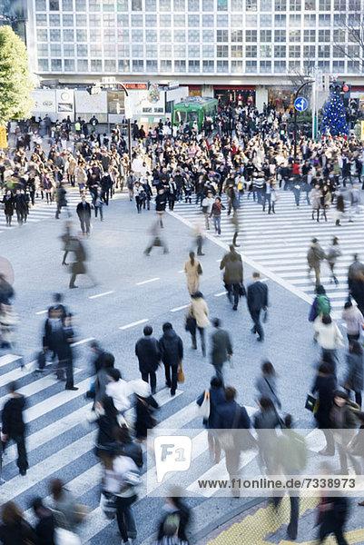 Menschenmenge auf Fußgängerüberwegen in Shibuya  Japan