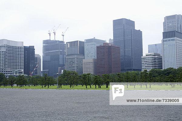 Wolkenkratzer im Geschäftsviertel Marunouchi von den äußeren Gärten des Imperial Palace  Tokio aus gesehen.