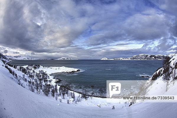 Bucht bei Somaroy im Winter  Tromsö  Norwegen  Europa