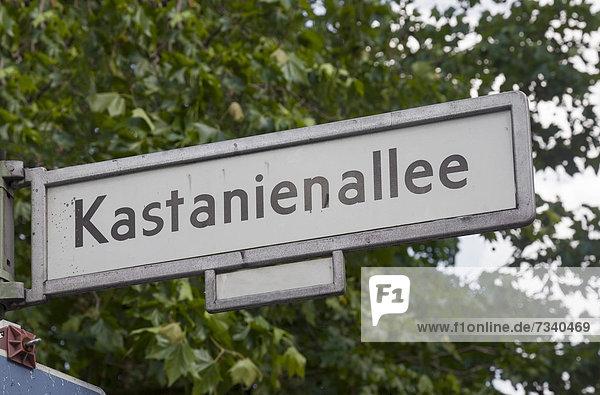 Straßenschild Kastanienallee  Prenzlauer Berg  Berlin  Deutschland  Europa