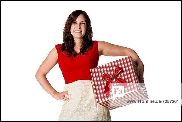 Geschenk  Frau  halten