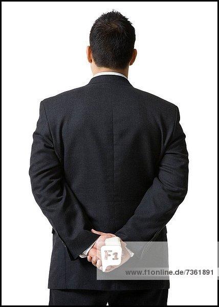 hinter  Rückansicht  Geschäftsmann  verstecken  Schmuck  Ansicht