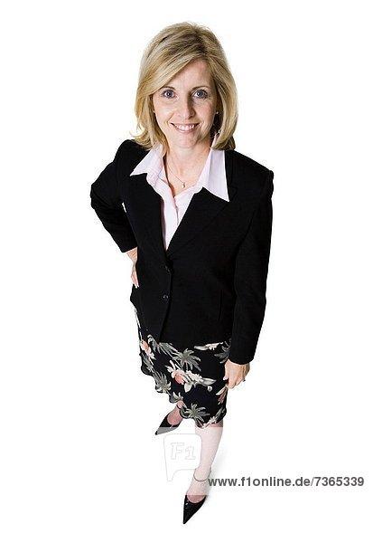 hoch  oben  Geschäftsfrau  lächeln  Ansicht  Flachwinkelansicht  Winkel