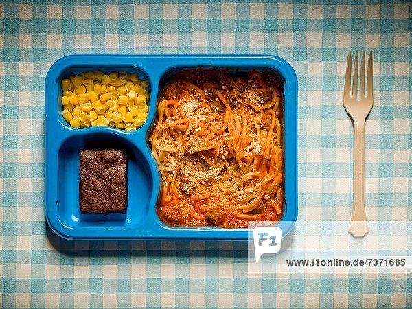 TV Dinner with plastic fork