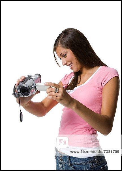 junge Frau junge Frauen Film Camcorder