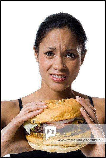 Frau  essen  essend  isst  Hamburger