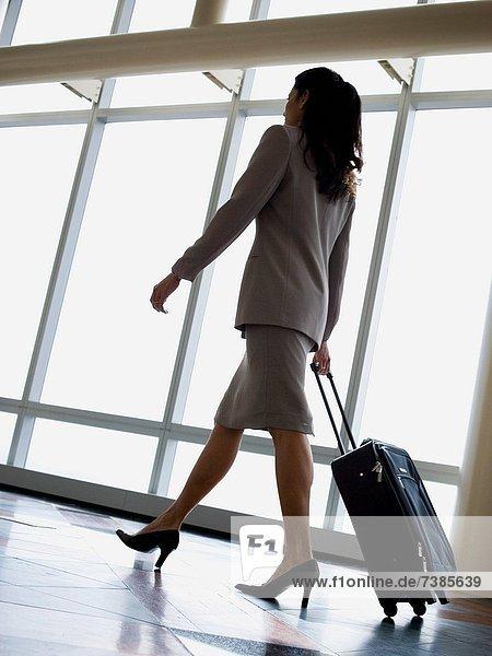 Geschäftsfrau  ziehen  Gepäck  Rückansicht  Ansicht