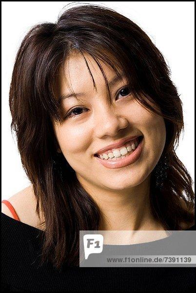 stehend  überqueren  Frau  lächeln