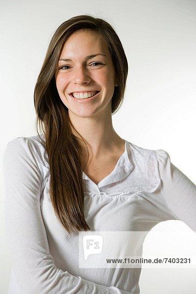 Frau  lächeln  weiß  Hemd  jung