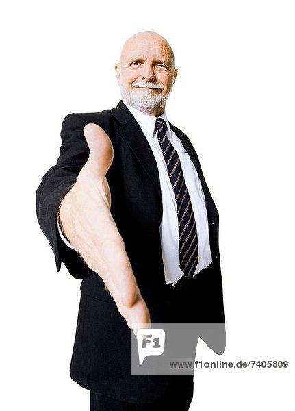 Portrait  Geschäftsmann  strecken