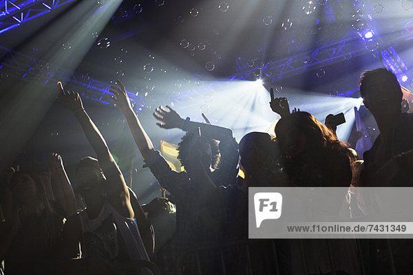 Jubelnde Menge mit erhobenen Armen beim Konzert