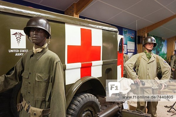 France  Normandy Region  Calvados Department  D-Day Beaches Area  St-Laurent Sur Mer  Musee Memorial De Omaha Beach  WW2 D-Day invasion museum  US ambulance with figure of black medic