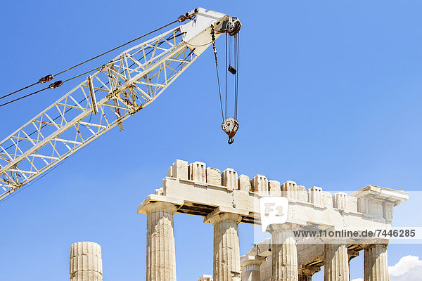 Athen  Hauptstadt  Kranich  UNESCO-Welterbe  Akropolis  Turmkran  Parthenon