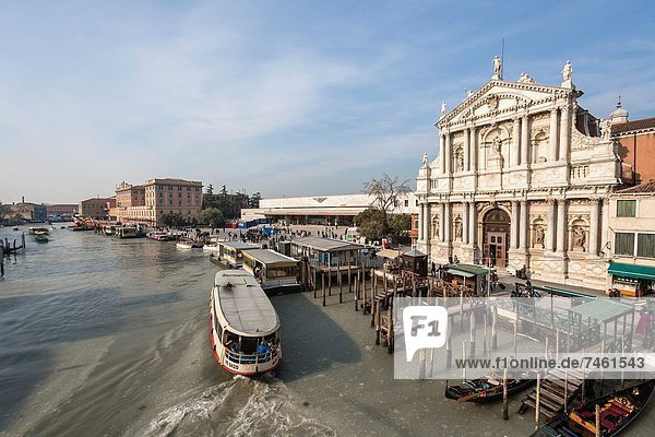 Church of the Scalzi Chiesa degli Scalzi with gondolas and boats in the foreground  Venice  Italy  Europe
