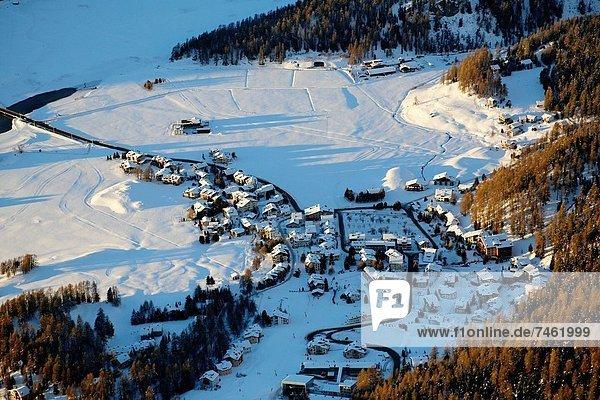 Switzerland  The Graubunden canton  Saint-Moritz  aerail view of St Moritz from helicopter