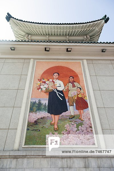 Colourful wall paintings outside the National Theatre  Pyongyang  Democratic People's Republic of Korea (DPRK)  North Korea  Asia