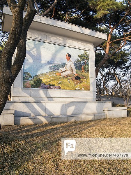 Picture of Kim Il Sung as a boy  Mangyondae Revolutionary site  the birthplace of President Kim Il Sung  Pyongyang  Democratic People's Republic of Korea (DPRK)  North Korea  Asia