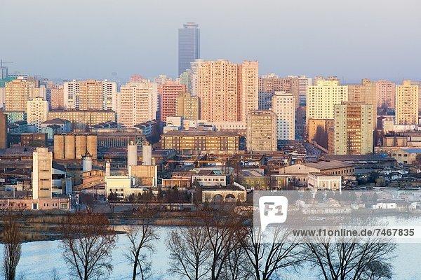 Skyline Skylines über Großstadt Demokratie Ansicht Erhöhte Ansicht Aufsicht heben Korea Asien Nordkorea
