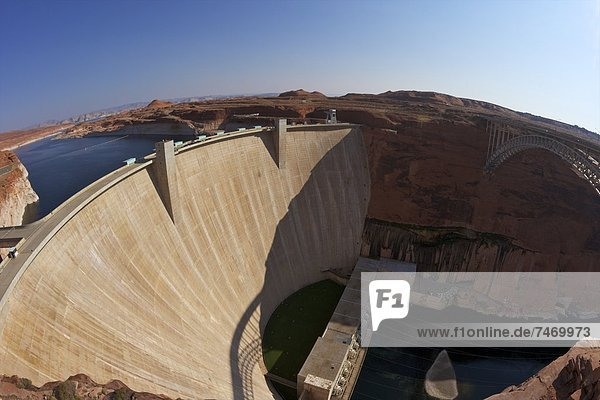 Glen Canyon Dam across the Colorado River  Arizona  United States of America  North America