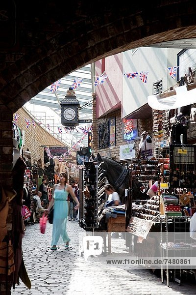 Young Women Shopping at Stables Market  Camden  London  England  UK