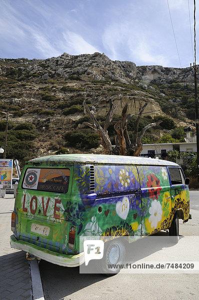 Hippie-Bus  Matala  Kreta  Griechenland  Europa