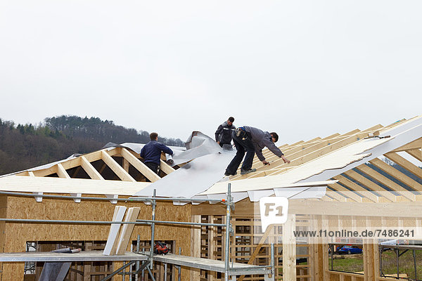 Europa  Deutschland  Rheinland-Pfalz  Arbeiterüberdachung auf Haus