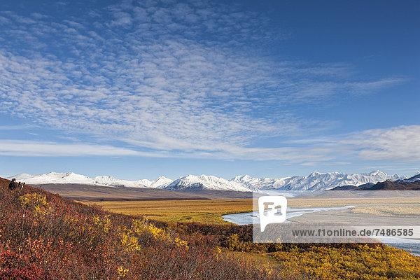 USA  Alaska  View of McLaren River  McLaren Glacier and Alaska Range